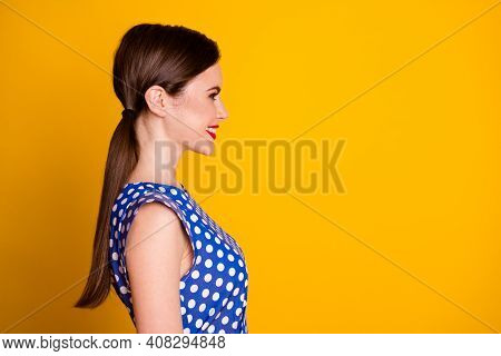 Close-up Profile Side View Portrait Of Her She Nice-looking Attractive Pretty Lovely Cheerful Cheery