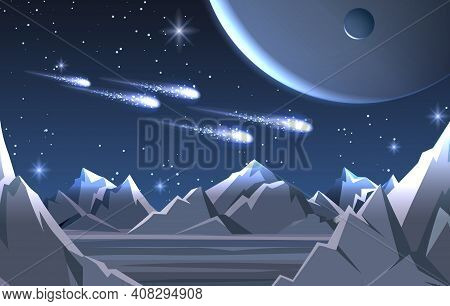 Space Planet Surface Landscape. Vector Cold Moon Background With Lighting Comets And Alien Sky, Blue