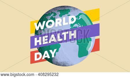Earth and medical tools for vector illustration of world health day. April 7 as world health day.