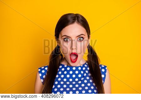 Close-up Portrait Of Her She Nice Attractive Lovely Glamorous Amazed Stunned Brown-haired Girl Incre