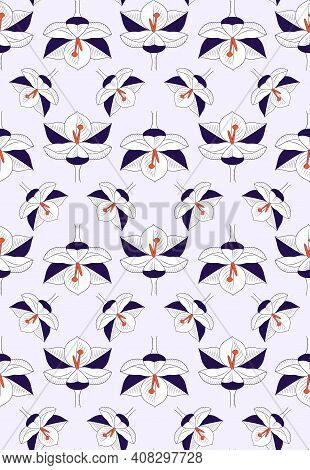 Crocus Flowers Symbol Spring Purple With Orange Stamen. Seamless Repeating Pattern On A Lilac Backgr