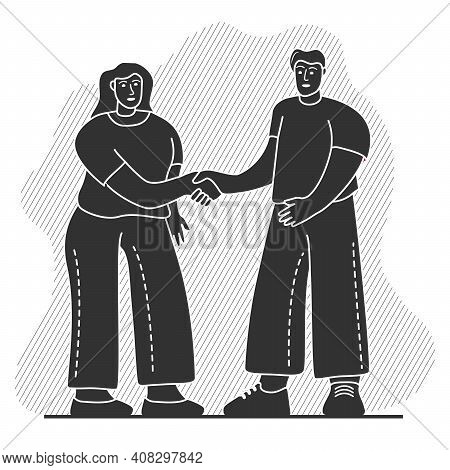 A Man And Woman Shaking Hands.black Silhouette Friendship Handshake Acquaintance.
