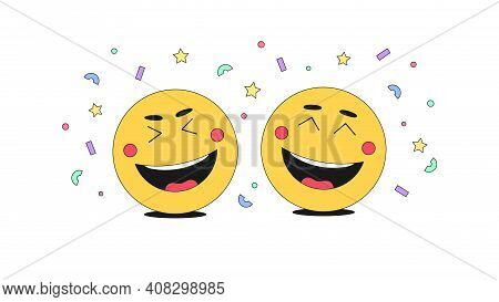 Fun, Gladness And Humor With Comic Emoji Character. Cartoon Laughing Emoticons With Cheerful Mood Am