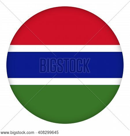 Flag Of Gambia Round Icon, Badge Or Button. Gambian National Symbol. Template Design, Vector Illustr