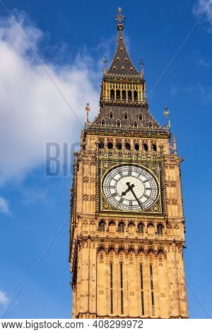 Upper part of Elizabeth Tower or Big Ben clock tower, Westminster Palace, City of Westminster, Central Area of Greater London, UK