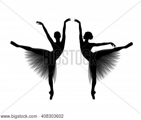 Beautiful Ballerina Girl Wearing Tutu Dress - Black And White Vector Silhouette Of Classical Ballet