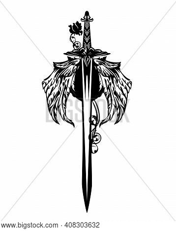 Winged Sword Blade Entwined With Rose Flower - Black And White Vector Design For Guardian Angel Conc