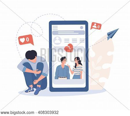 Young Man Upset About Breaking Up With Girl Recalls Shared Photos On Social Networks Vector Flat Ill