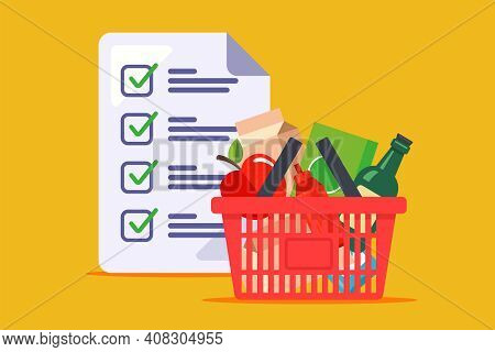 Man Made A Shopping List For The Store. A Grocery Basket And A List Of Products Compiled By The Wife