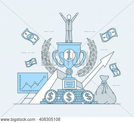 Business Or Investing Application Vector Cartoon Outline Illustration. Man Winning First Prize, Risi