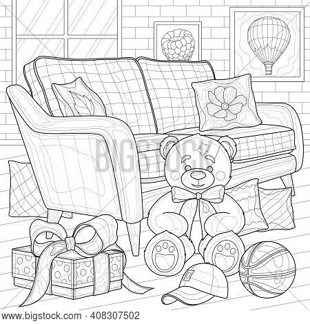 Room With A Sofa And A Teddy Bear.coloring Book Antistress For Children And Adults.zen-tangle Style.