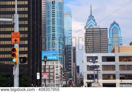 Philadelphia, Usa - June 11, 2013: Skyline View In Downtown Philadelphia. As Of 2012 Philadelphia Is