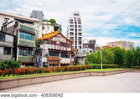 TAIPEI, TAIWAN - July 2, 2019: Traditional temple building in Taipei, Taiwan