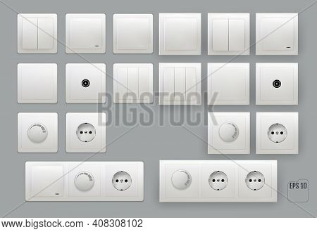 Wall Switch. Power Electrical Socket. Electricity Turn Of And On Plug. Power Electricity Sockets Ill