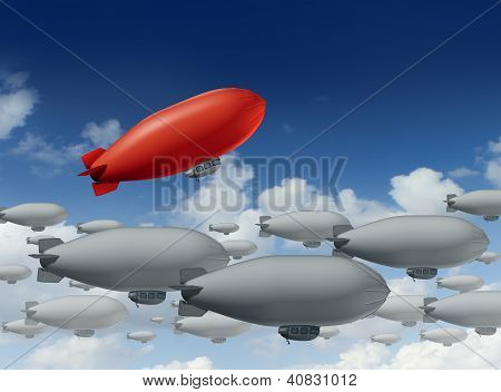 Standing out from the crowd with a group of grey blimps going in a straight direction and a leading red blimp going up as a special visionary individual with a success strategy on a sky. poster