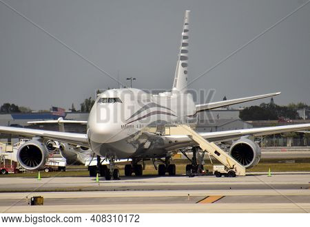 Massive Jumbo Jet In Vip Confoguration Parked On The Ground