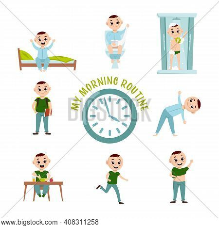 Boy Morning Routine. Funny Character. Every Day Schedule. Waking Up, Peeing, Taking A Shower, Making