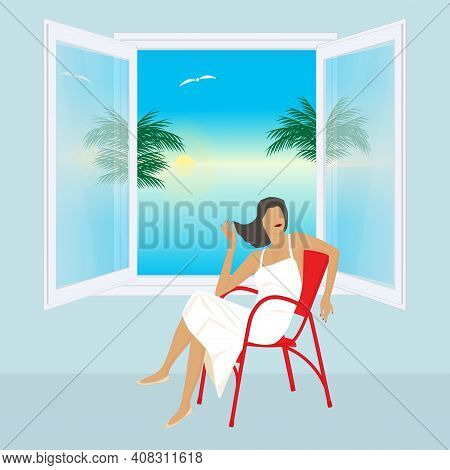Woman Sitting By The Open Window Overlooking The Sea, Palm Trees, Sun - Vector.