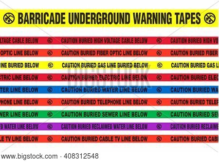 Vector Illustration Of Different Barricade Underground Warning Tapes