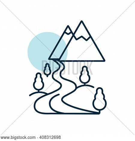 Mountain And River Vector Icon. Nature Sign. Graph Symbol For Travel And Tourism Web Site And Apps D