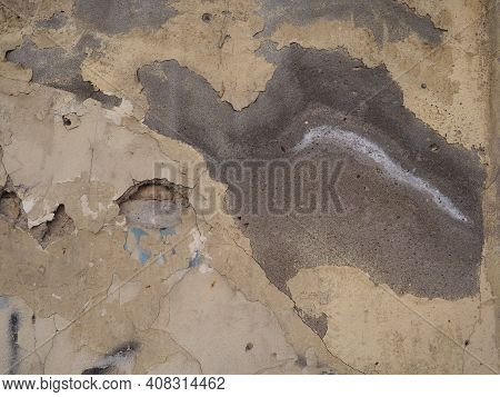Texture Of Wet Plaster Wall For Background. Soggy Plaster On The Wall Of The Building. Dilapidated S