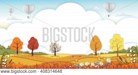 Paper Art Autumn Landscape Forest Trees On Hills,paper Cut Mid Autumn With Sky And Hot Air Balloons,