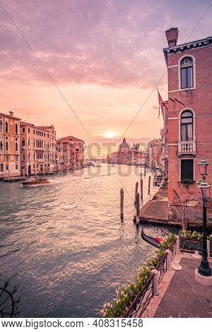Stunning Sunset Over Grand Canal And Basilica Santa Maria Della Salute In Venice, Italy.. Summer Vac