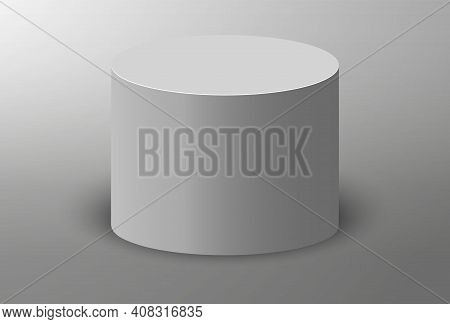 3d Podium. Pedestal Platform Or Showroom Stand. White Round Studio Stage Platform. Vector Empty Aren