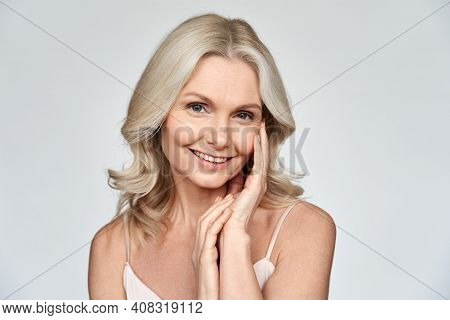 Smiling Happy Attractive 50s Middle Aged Blonde Woman, Older Lady Looking At Camera Advertising Anti
