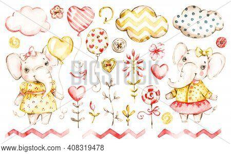 Cute Elephant Baby Girl. Watercolor Vector Nursery Cartoon Jungle Animals, Cute Clouds, Balloons. Ad