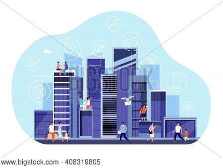 Smart City Concept. Downtown Internet Communication, Urban Office Buildings. People Walking, New Dig
