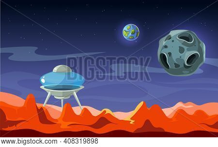 Mars Landscape. Colonization, Alien Space Background. View From Red Planet On Earth And Moon Cartoon