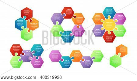 Puzzle Infographic. Teamwork, Collaboration Metaphor. Isolated Steps, Agile Or Planning Abstract Vec