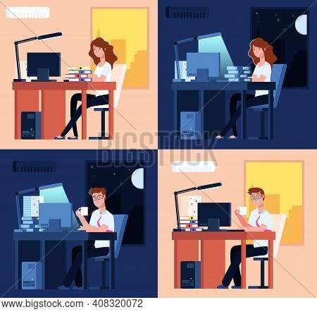 Day Night Work. Late Office Working, Man Woman Overtime Job. Flat Tired Employees, Remote Non Stop L