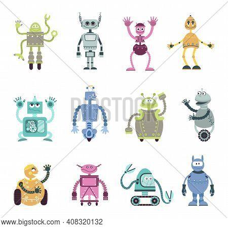 Cartoon Robots Characters. Mechanical Robot, Retro Toy Monsters. Cute Kids Friends, Automation Cybor