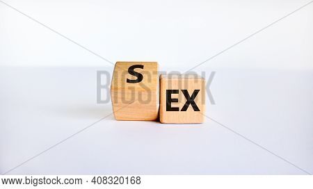 Sex With An Ex Symbol. Turned A Cube And Changed The Word 'ex' To 'sex'. Beautiful White Table, Whit