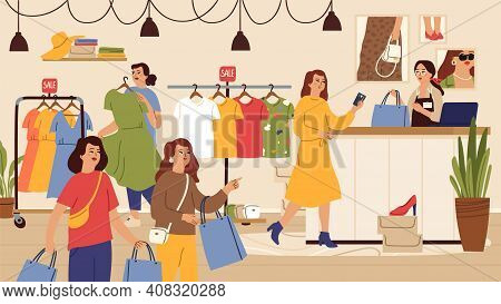 Fashion Store. Female Shop, Outlet Or Sale In Boutique. Women Shopping, Person Buy Dress T-shirt Sho