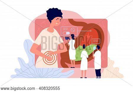 Gastroenterology. Medicine People, Person Stomach Examination. Ultrasound Endoscopy Ill Abdomen Diag
