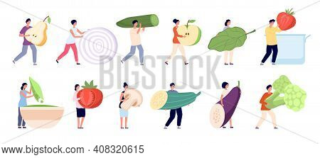 Vegetarian Life. Raw Ingredients, Garden Vegan Natural Nutrition. Mini People Healthy Food Eating, C