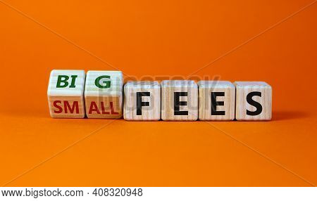 Big Or Small Fees Symbol. Turned Wooden Cubes And Changed Words 'small Fees' To 'big Fees'. Beautifu