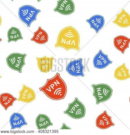 Color Shield With Vpn And Wifi Wireless Internet Network Icon Isolated Seamless Pattern On White Bac