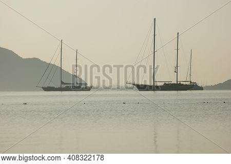 Landscape Panorama With Sea, Yachts And Mountains. Sea Voyage Concept.