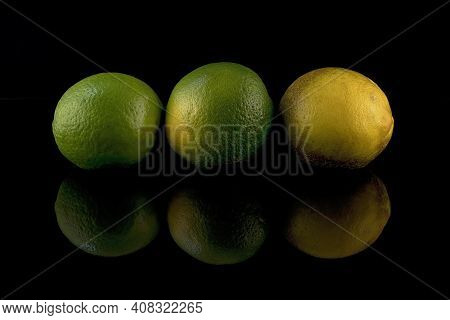 A Trio Of Limes Placed On The Edge Of A Black Tank Of Water To Catch The Reflections