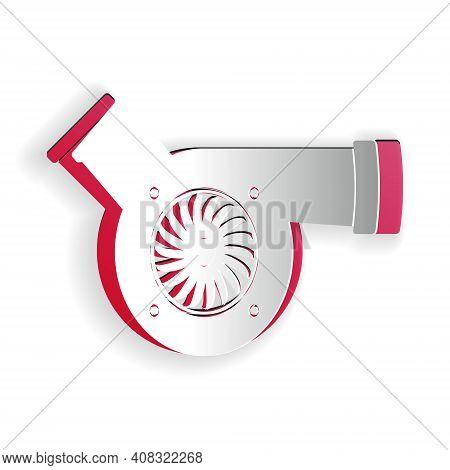 Paper Cut Automotive Turbocharger Icon Isolated On White Background. Vehicle Performance Turbo. Car