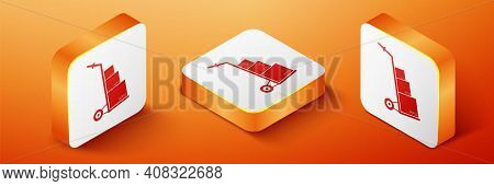 Isometric Hand Truck And Boxes Icon Isolated On Orange Background. Dolly Symbol. Orange Square Butto