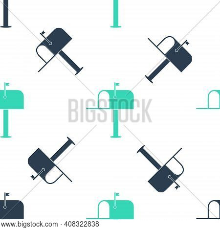 Green Open Mail Box Icon Isolated Seamless Pattern On White Background. Mailbox Icon. Mail Postbox O