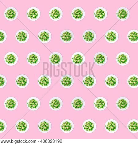 Pattern Of Plates With Lightly Fried Brussels Sprouts On The Neon Pink Drop. Easy Cooking, Healthy E