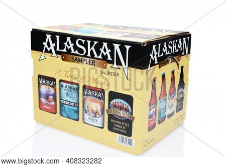 IRVINE, CALIFORNIA - JULY 16, 2014: 12 Pack of Alaskan Brewing Co. beers. Alaskan Brewing, founded in 1986 in Juneau, Alaska, was the first Juneau brewery since prohibition.