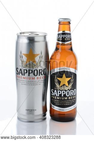 IRVINE, CA - JANUARY, 11, 2015: A can and bottle of Sapporo Beer. The Japanese brewery founded in 1876 by German trained brewer Seibei Nakagawa. It is the oldest beer brand in Japan.