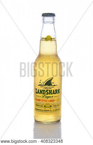 IRVINE, CA - JUNE 14, 2015: A single bottle of Landshark Lager. The Island Style lager is the house lager for Jimmy Buffets Margaritaville Restaurant chain.